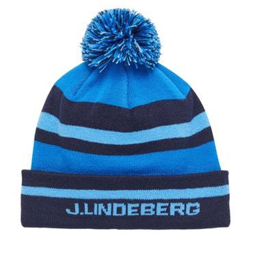 J.Lindeberg Gents Stripe Beanie  Egyptian Blue O349