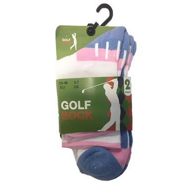 Golf Sock Ireland Ladies Socks Patty 2-Pair Pack  White/Blue