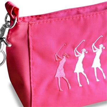 Surprizeshop Ladies Embroidered Golfer Handbag  Pink