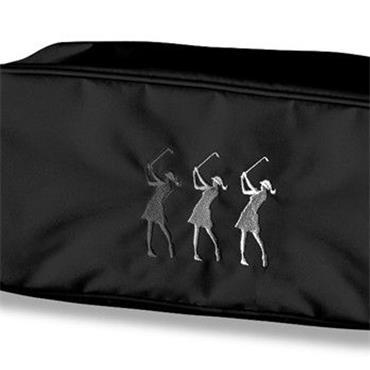 Surprizeshop Ladies Embroidered Golfer Shoe Bag  Black