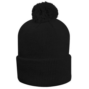 Glenmuir Uni Malabar Lined Rib Bobble Hat  Black