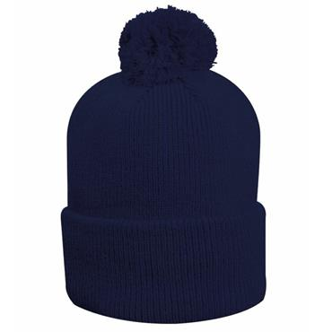 Glenmuir Uni Malabar Lined Rib Bobble Hat  Navy