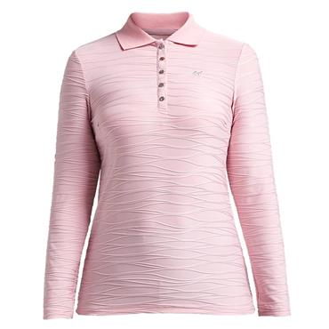 Rohnisch Wave Long Sleeve Polo Shirt Rose Pink