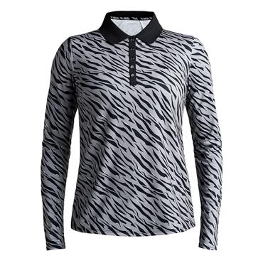 Rohnisch Ladies Achieve Long-Sleeved Polo Shirt Grey Zebra