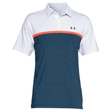 Under Armour Gents Playoff Polo Shirt White - Orange - Navy