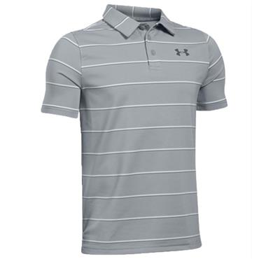 Under Armour Junior - Boys Playoff Stripe Polo Shirt Grey