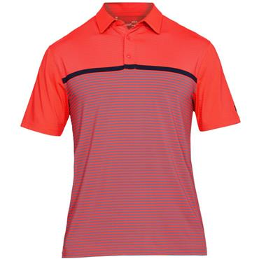 Under Armour Gents Stripe Playoff Polo Shirt Coral