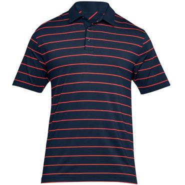 Under Armour Gents Stripe Playoff Polo Shirt Navy - Orange