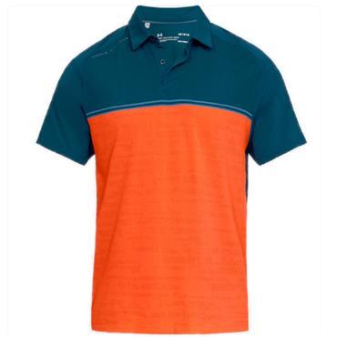 Under Armour Gents Threadborne Calibrate Polo Shirt Blue - Orange