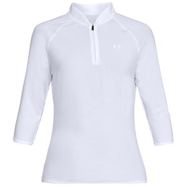 Under Armour Ladies Threadorne Edge Zip Polo Shirt White