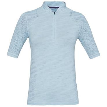 Under Armour Ladies Seamless Zip Polo Shirt Blue
