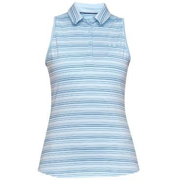 Under Armour Ladies Zinger Sleeveless Novelty Polo Shirt Blue