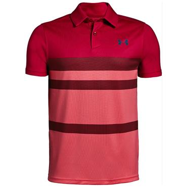 Under Armour Junior-Boys Tour Tips Engineered Polo Shirt Red