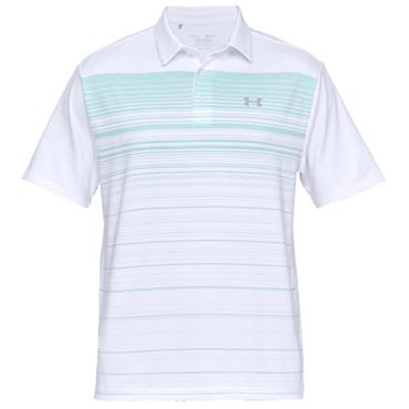 Under Armour Gents Playoff 2.0 Polo Shirt White - Turquoise