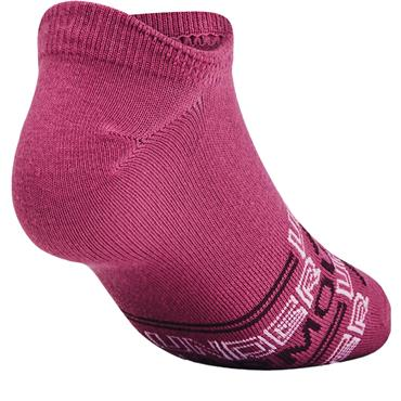 Under Armour Ladies Essential No Show Low Socks 6 Pairs Pink 678