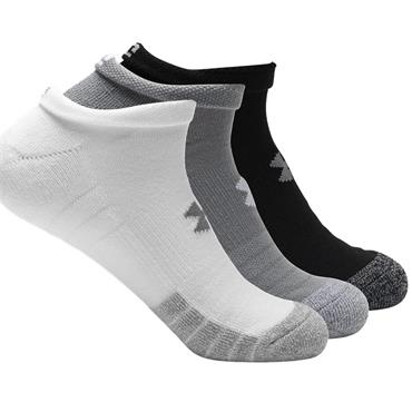 Under Armour Adult HeatGear® No Show Socks 3-Pack Grey - White - Black