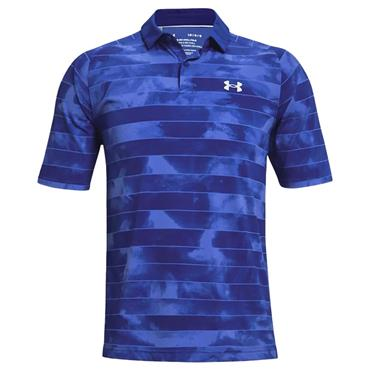 Under Armour Gents Iso-Chill Fog Stripe Polo Shirt Blue