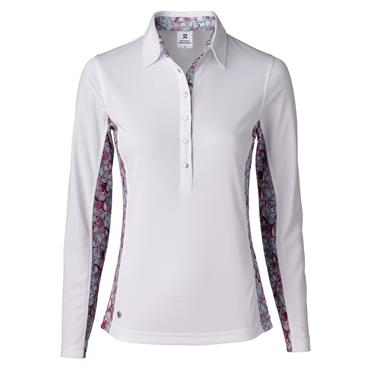 Daily Sports Ladies Wear Paisley Long Sleeve Polo Shirt White