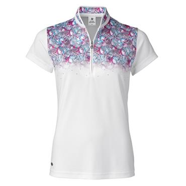 Daily Sports Ladies Wear Paisley Cap Sleeve Polo Shirt White