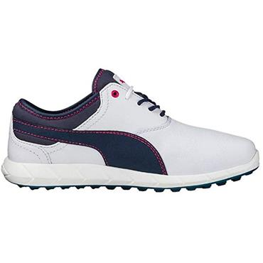 Puma Ladies Ignite Spikeless Golf Shoes White - Peacoat - Rose Red