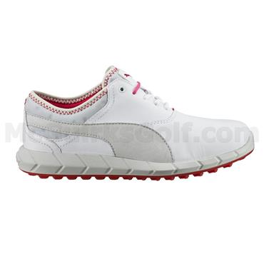 Puma Ladies Ignite Spikeless Golf Shoes White - Glacier Grey - Rose Red