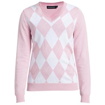 Rohnisch Ladies Argyle V-Neck Sweater Light Pink