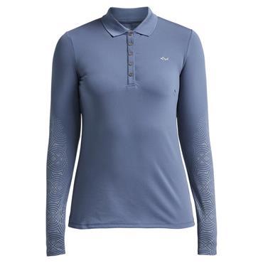 Rohnisch Ladies Dew Long Sleeve Polo Shirt Dusty Blue