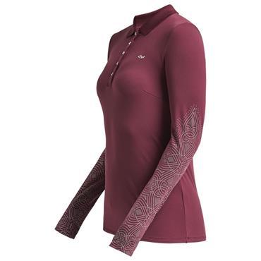 Rohnisch Ladies Dew Long Sleeve Polo Shirt Burgundy