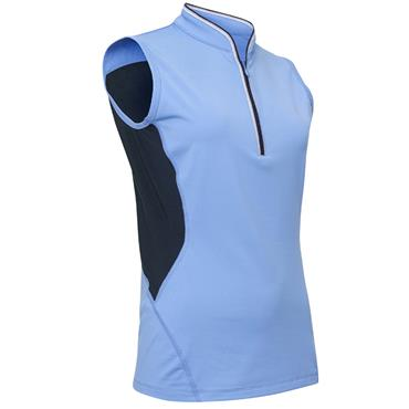Abacus Ladies Dimple Sleeveless Polo Shirt Blue