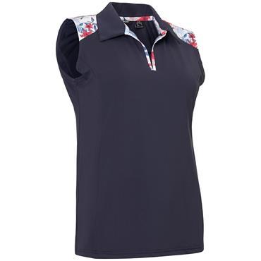 Abacus Ladies Cherry Sleeveless Polo Shirt Navy