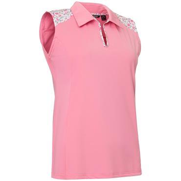Abacus Ladies Cherry Sleeveless Polo Shirt Shrimp Pink