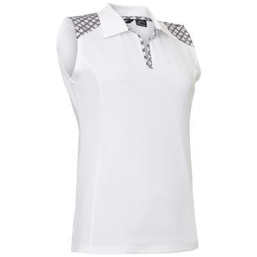 94e31818149a8 Abacus Ladies Cherry Sleeveless Polo Shirt White ...