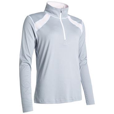 Abacus Ladies Yale UV-Cut Long Sleeve ¼ Zip Top Grey Melange