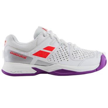 Babolat Junior Pulsion All-Court Tennis Shoes White - Red