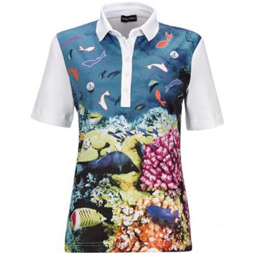 Golfino Ladies Under the Sea Print Polo Shirt White