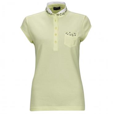 Golfino Ladies Under the Sea Cap Sleeve Polo Shirt Yellow