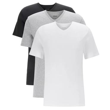 BOSS Gents V Neck T-Shirt 3 Pack Assorted 999 White - Grey - Black