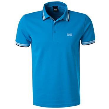 Hugo Boss Gents Cotton-Pique With Logo Under Collar Paddy Polo Shirt Light Blue