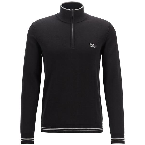 19ba6d9e2 Hugo Boss Gents Zip-Neck Cotton-Blend with Contrast Piping Zimex S19 Sweater  Black