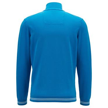 Hugo Boss Gents Zip-Neck Cotton-Blend with Contrast Piping Zimex S19 Sweater Light Blue