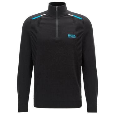 Hugo Boss Gents Colour-Block Zelchior Pro 1/4 Zip Sweater Black