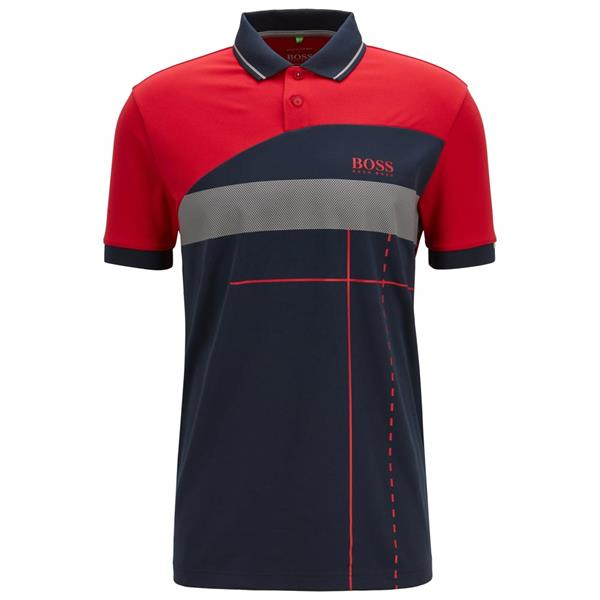3458ac742 Hugo Boss Gents Martin Kaymer Polo Shirt With Dynamic Artwork Red ...