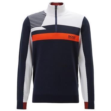 Hugo Boss Gents Colour-Block Zip-Neck Zelchior Pro Sweater Water-Repellent Finish Navy - Orange 413