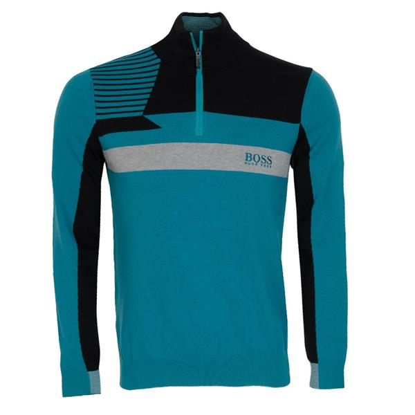 clearance sale where to buy new styles Hugo Boss Gents Colour-Block Zip-Neck Zelchior Pro Sweater Water ...