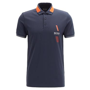 Hugo Boss Gents Slim-fit Polo Shirt with S.Café® & Contrast Colour Navy