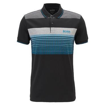 Hugo Boss Gents Regular-fit Polo Shirt in Moisture-Wicking Cotton Black