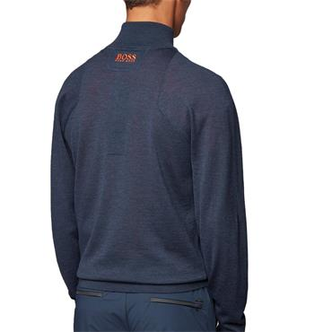 Hugo Boss Gents Zon Pro Zip-Neck Golf Sweater in Water-Repellent Merino Wool Navy