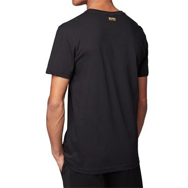 Hugo Boss Gents Cotton Jersey T-Shirt With Curved Embroidered Logo Black