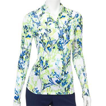 EPNY Ladies Long Sleeve Floral Print Polo Shirt White Multi