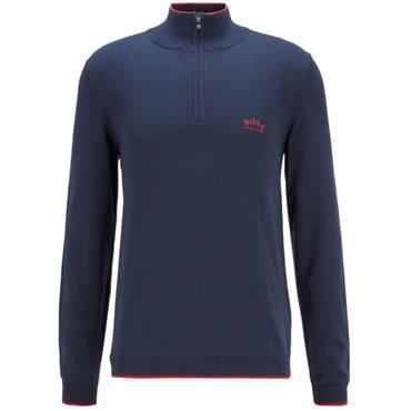 Hugo Boss Gents Ziston 1/4 Zip Sweater Navy